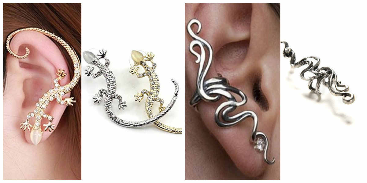 Золото Серебро Rhineston Кафф серьги Роскошные элегантные Gecko ящериц и  змея преувеличены готический 59dddd48ac689