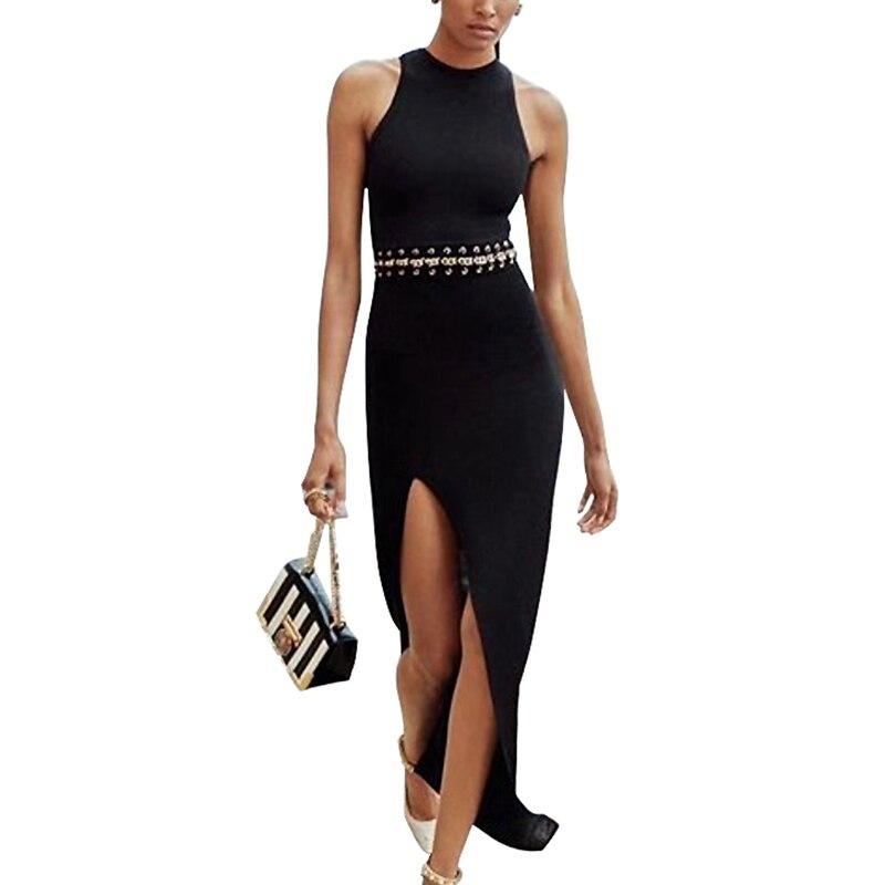Sexy D'été 2018 Bandage Club Robe Mode Sans Manches Black De Cou Vêtements Soirée Évider O Femmes Robes HbeED2IYW9
