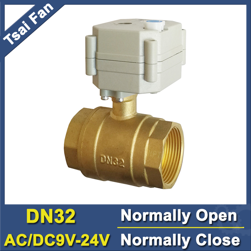 TF32-B2-B AC/DC9V-24V BSP/NPT 1-1/4'' Normal Open Normally Closed Electric Motorized Valve With Manual Override 2 Way DN32 1 1 4 ac dc24v electric automated ball valve on off type dn32 with manual override can open any angle for flow control