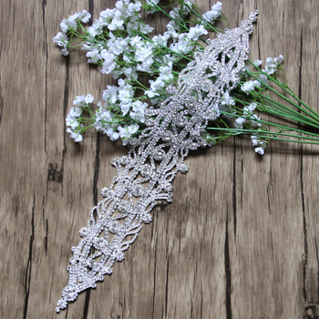 "Free Shipping 10pcs 16"" Rhinestone Applique Bridal Applique for Wedding Gown Trimming Bridal Sash Rhinestone Patch LSAP112701"
