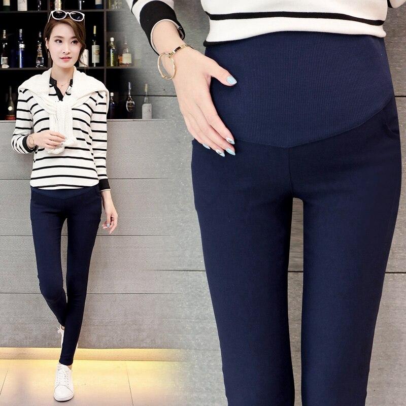 7ee4a409f Primavera vientre delgado de leggings de algodón elástico cintura ajustable  lápiz pantalones de embarazo ropa para mujeres embarazadas