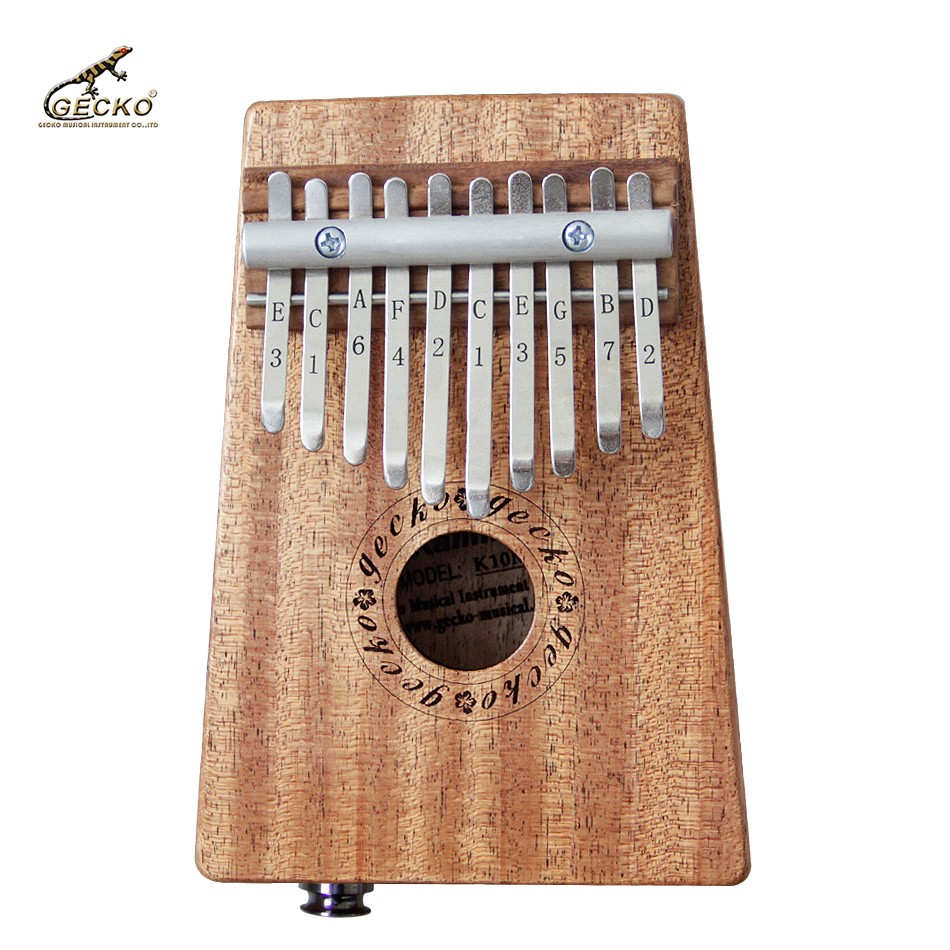 Gecko 10 Key Kalimba African solid mahogany Thumb Piano Finger Percussion Keyboard Kids Connect EQ
