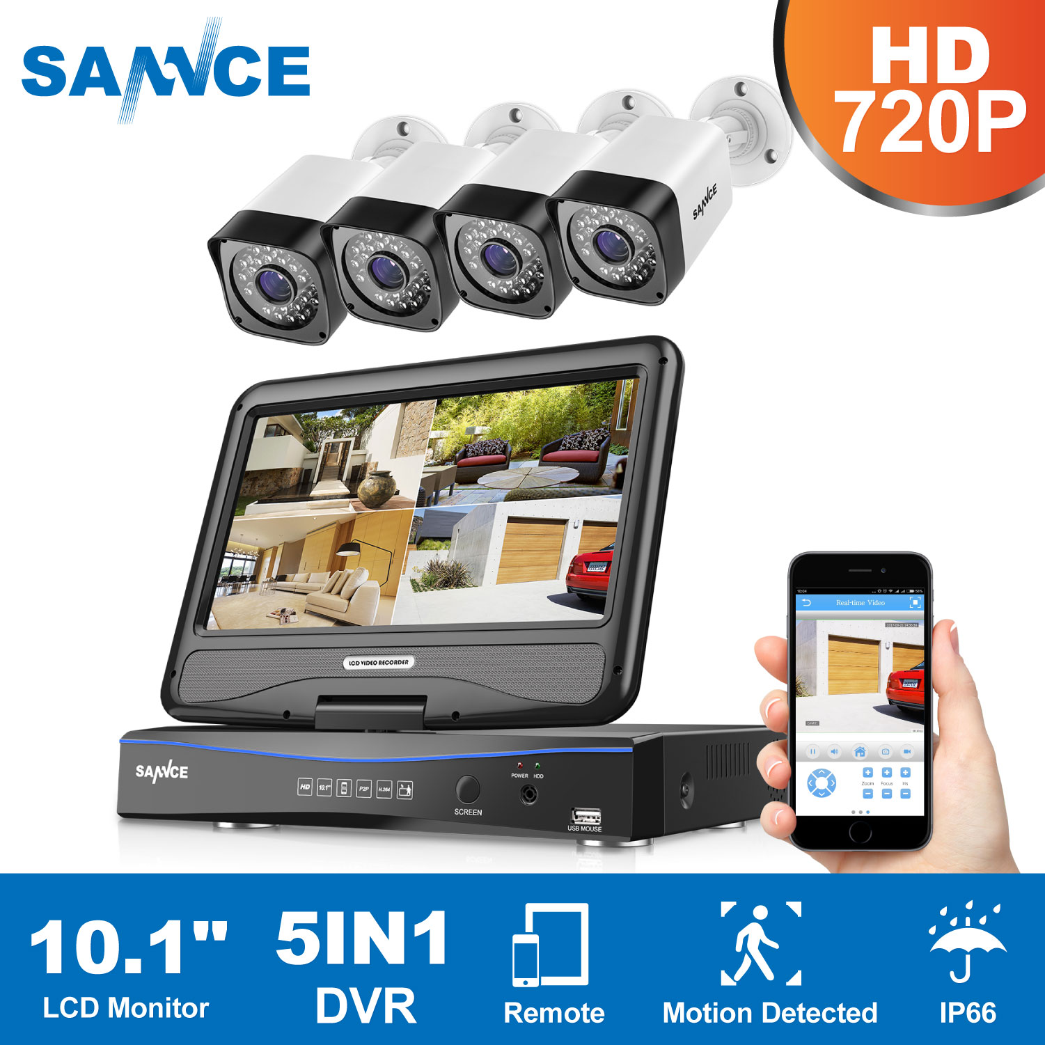 SANNCE 4CH 5in1 10inch Displayer 1080N HDMI/VGA Output DVR 4pcs 720P HD TVI IR CUT Security Camera CCTV System Surveillance Kit vga 4ch color cctv security camera quad processor remote control