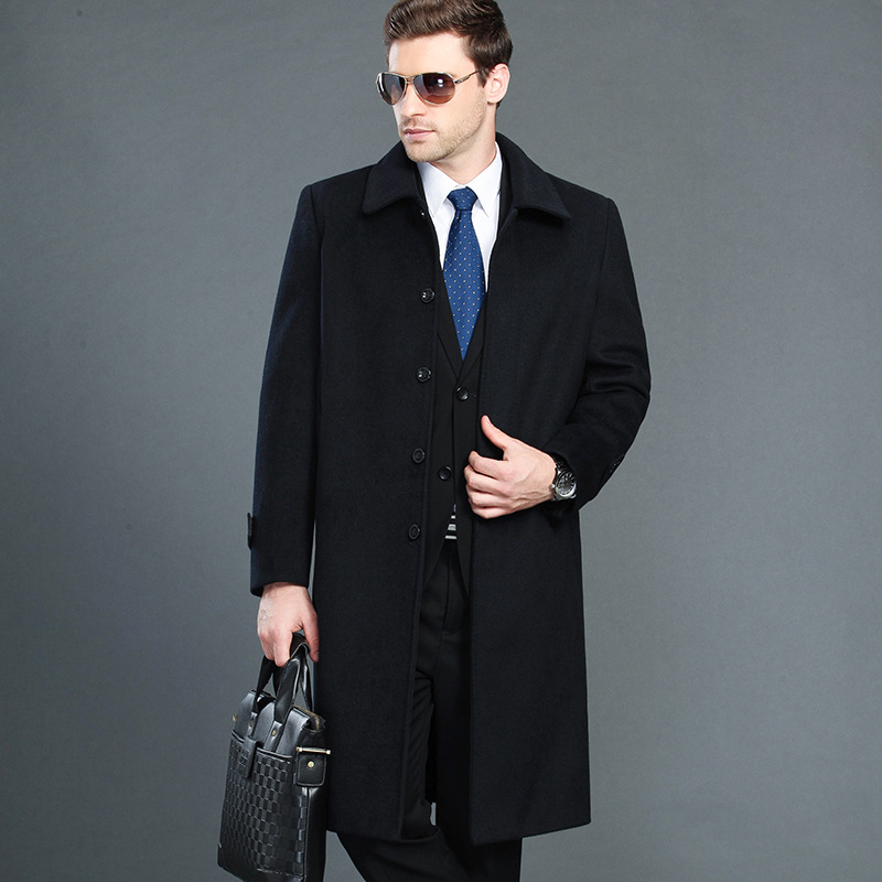Big Size 4xl Autumn Winter Men's Jacket Business Casual Warm Men Wool Coat Slim Windbreaker Long Section Overcoat(China)