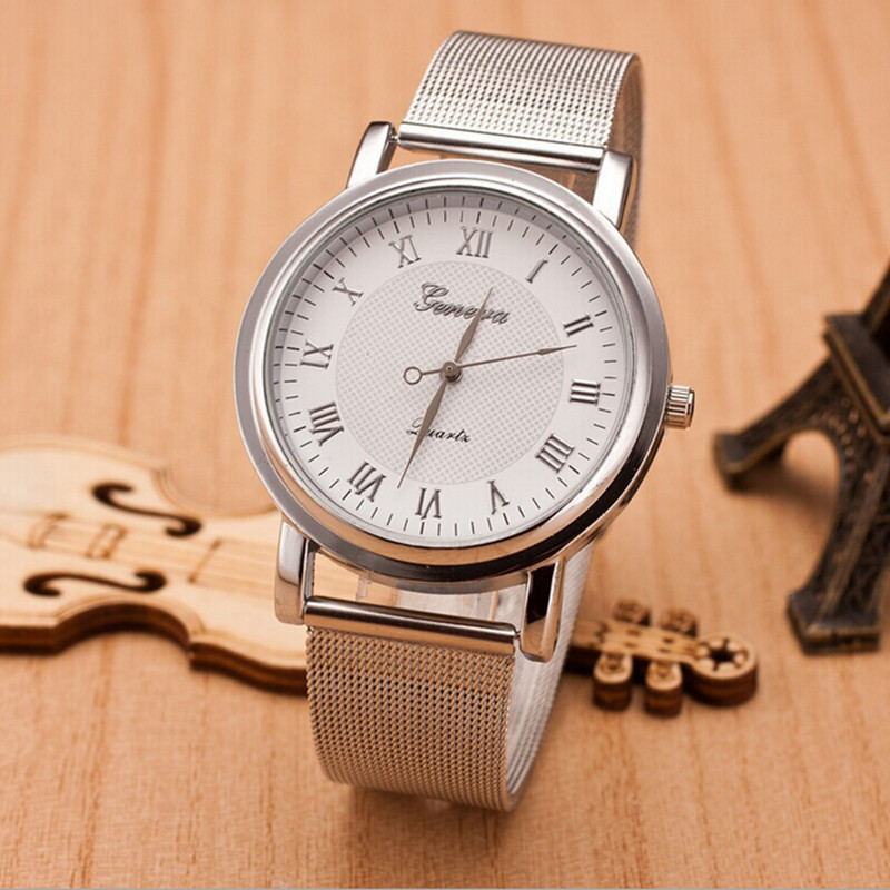 Women Vintage Roman Number Geneva Mesh Strap Quartz Watch Relogio Masculino Men Business Wristwatches Clock Waterproof Hours Hot gorben brand classical silver polishing quartz men pocket watch round roman number necklace relogio de bolso gift men watch