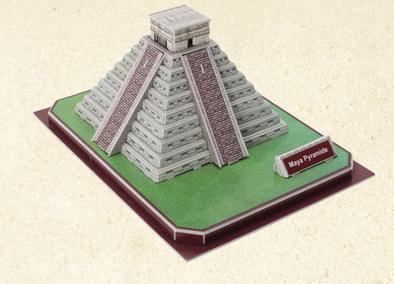 3d three-dimensional jigsaw puzzle paper fight inserted Mayan pyramid building models diy cabin