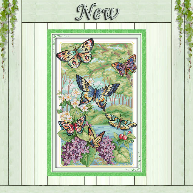 Colorful Butterflies fly in the forest painting counted print on canvas Cross Stitch kits DMC11CT 14CT needlework Sets embroider