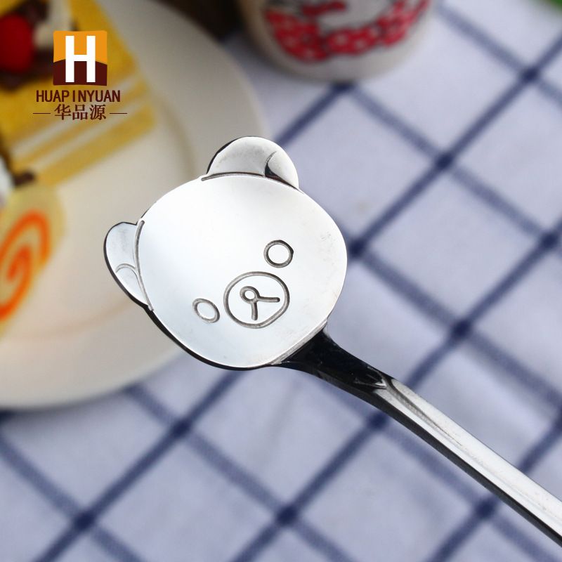304 кофейная ложка из нержавеющей стали, помешивающая чайная ложка, милая мультяшная кошка, hello kitty, совок, Дораэмон, часы, время, Rilakkuma, ложка с медведем - Цвет: silver bear