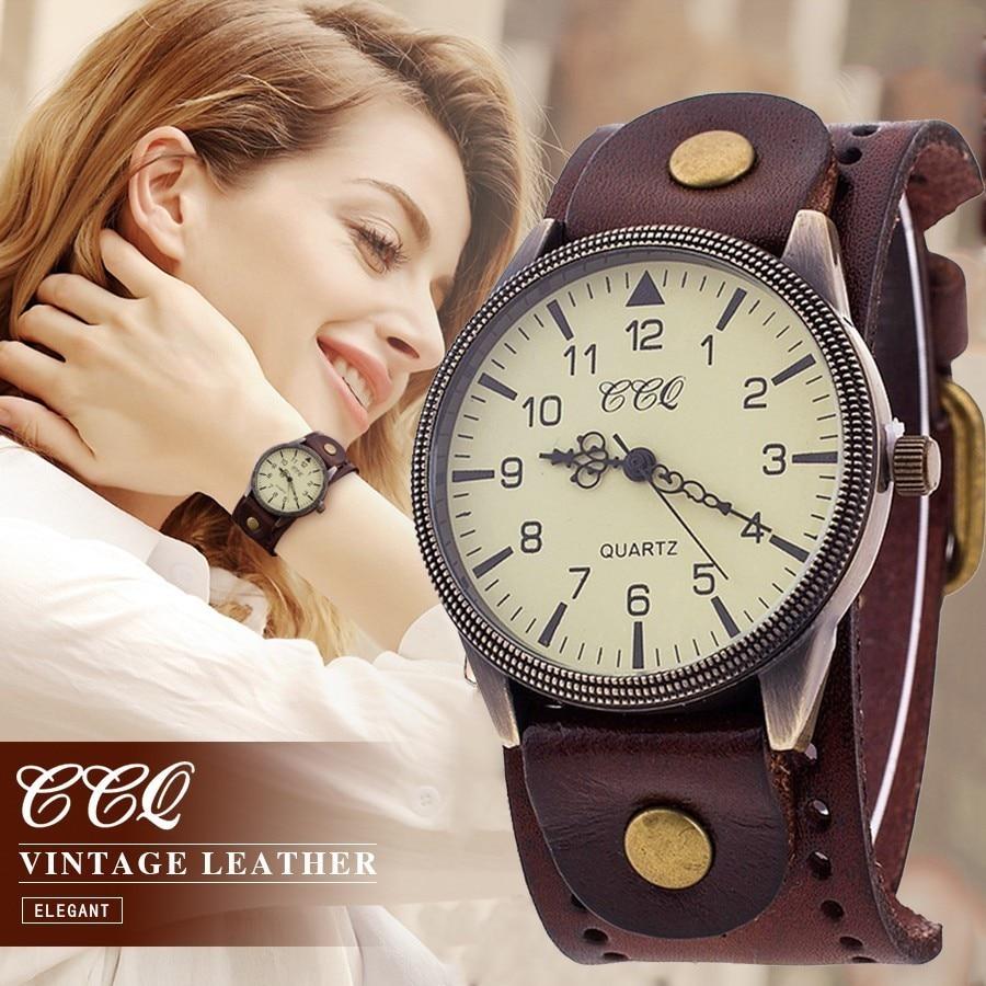 CCQ Brand Vintage Cow Leather Bracelet Watch Casual Women Men Wrist Watches Luxury Male Quartz Watch Relogio Masculino Hot
