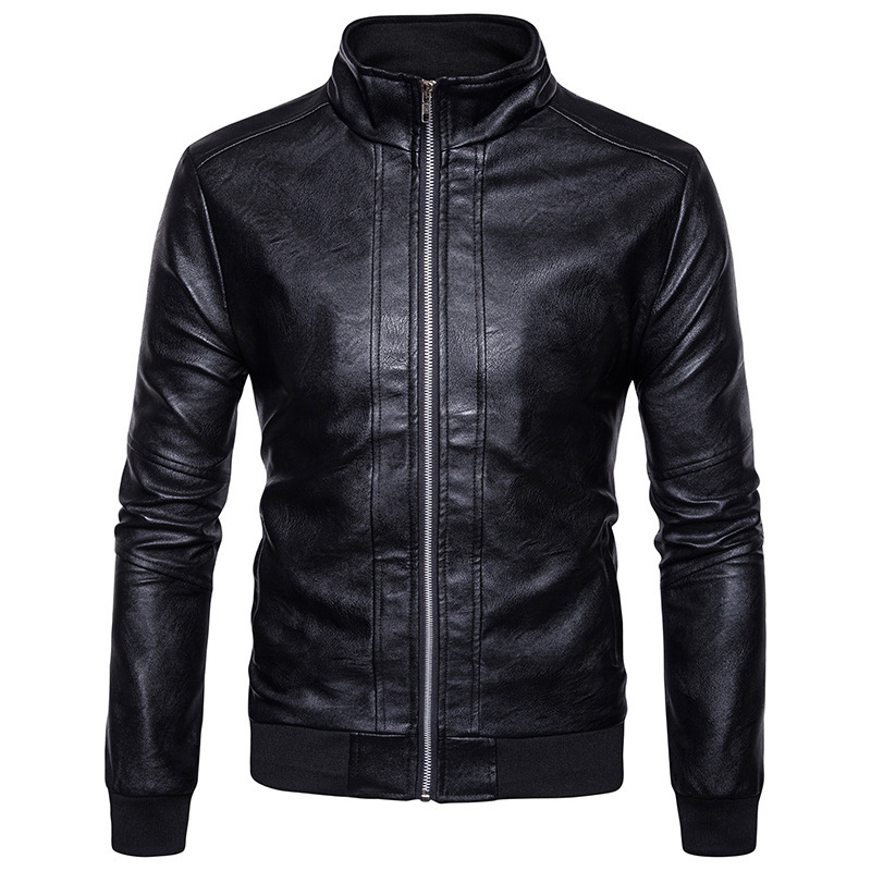 Autumn and winter clothing mens leather jacket collar cuff solid new leather casual fash ...