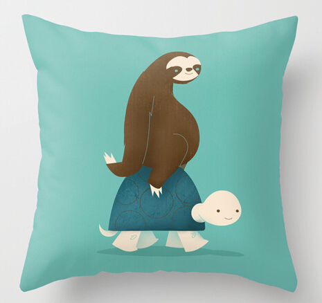 Cute Funny Design Animals Slow Ride Turtle and Sloth Customized Plush Pillowcase Pretty Blue Pillow Covers Both Sides Printing-in Pillow Case from Home ... & Cute Funny Design Animals Slow Ride Turtle and Sloth Customized ... pillowsntoast.com
