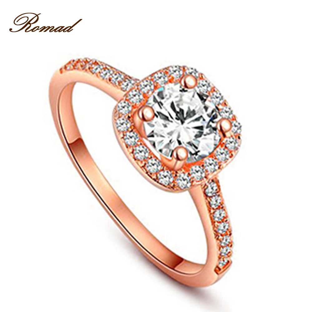 Fashion Jewelry Romad Rings for Women Rose Gold Color Rings Zirconia Environmental Rhinestone Wedding Rings for