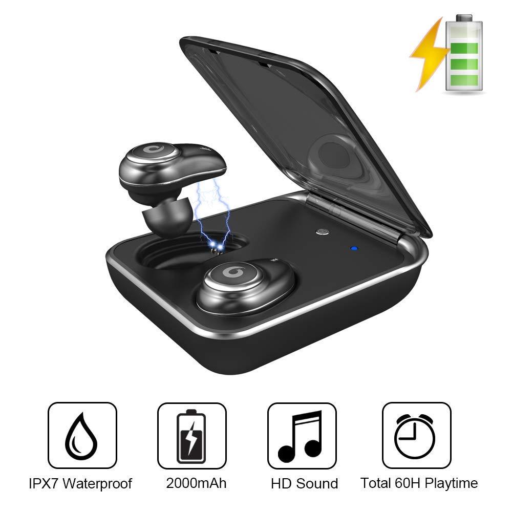 GUSGU TWS auricular Bluetooth inalámbrico auriculares V5.0 en la oreja del deporte auriculares con banco de potencia y micrófono manos libres - 2