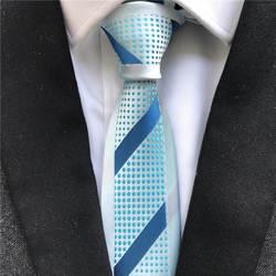 Новые дизайнерские модные мужские Тощий Галстук уникальный Панель Галстуки светло-голубой с полосатой горошек Gravata