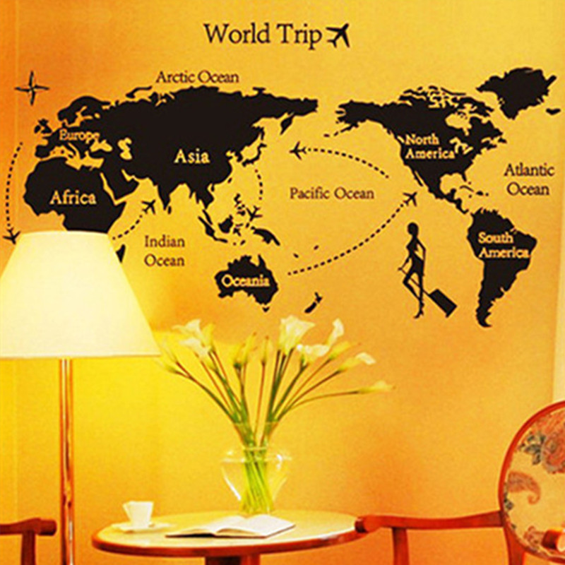World map wall sticker vintage home decorations office living room world map wall sticker vintage home decorations office living room bedroom bookroom removable black vinyl wallpaper mapa mundi in wall stickers from home gumiabroncs Choice Image