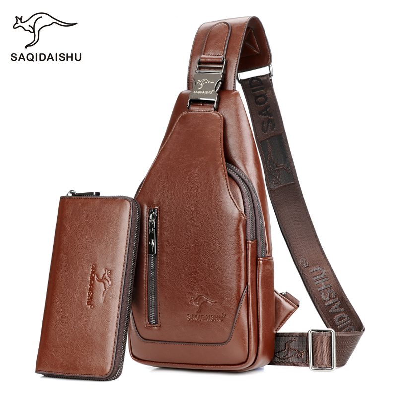 Fashion Men Chest Bags PU Leather Casual Men Shoulder Crossbody Bag Brand Design Male Chest Pack Travel Strap Back Bags