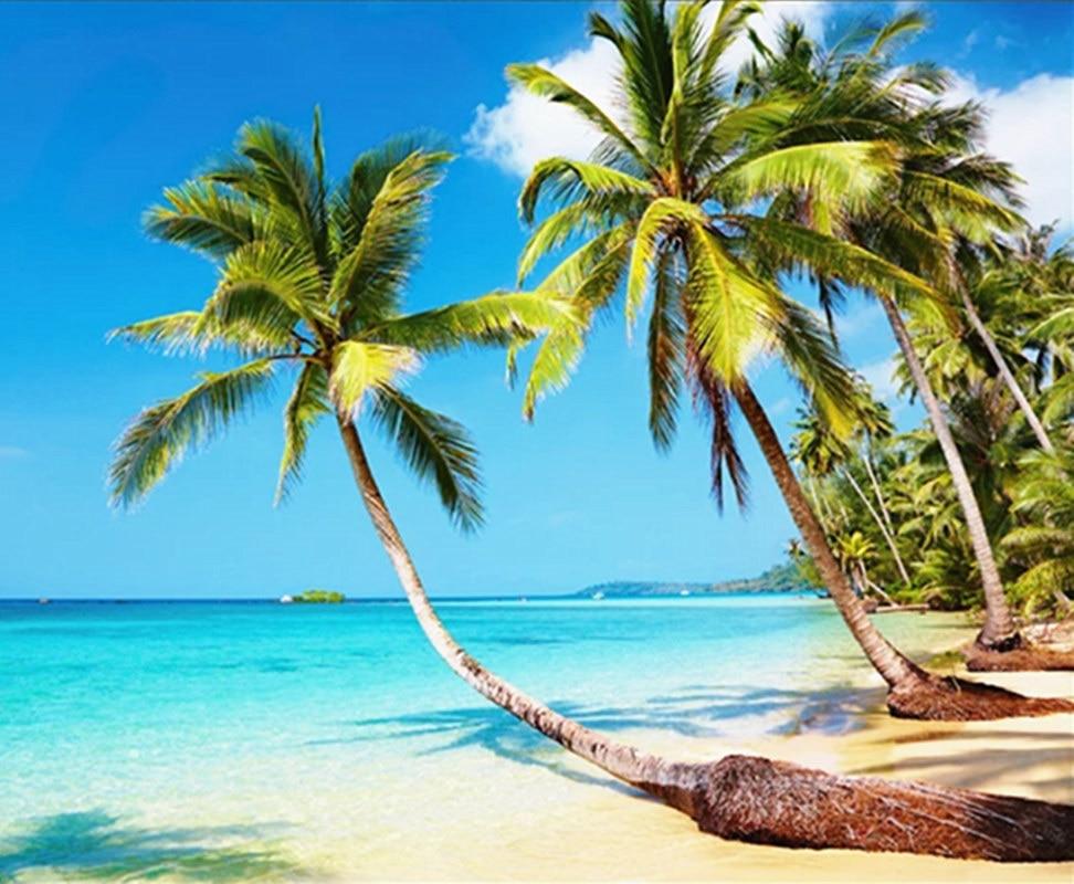 Hd Coconut Tree Seaside Landscape Nature Wallpaper Living: YOUMAN 3D Custom Photo Mural Wallpaper Beach Seaside