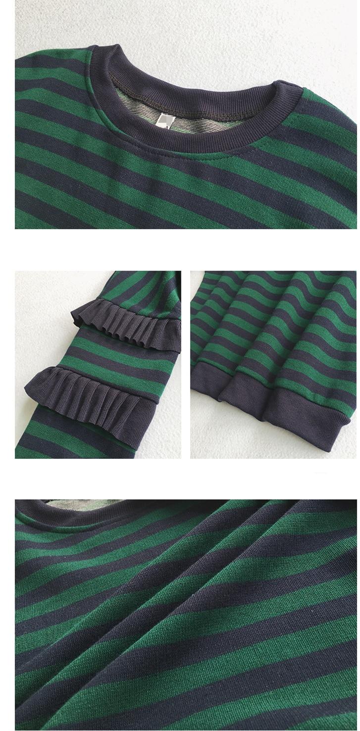 M-4xl Striped Sweatshirt Pullovers Women Plus Size Spring Autumn Ruffles Long Sleeve Tops Casual Harajuku Feminino White Green 6