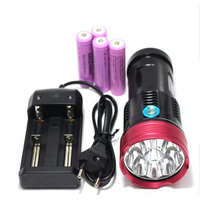 Cao điện đèn pin 15000 lumens Vua 9T6 LED flashlamp 9 x CREE XM-L T6 LED Flashlight Torch với 5000 mah pin