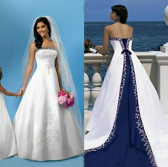 Luxury White And Blue Satin Beach Wedding Dresses Strapless Embroidery Chapel Train Corset Custom Made Bridal Wedding Gowns