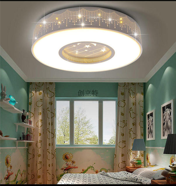 Children Room Star Ceiling Lamps Round Ceiling Led Boy Girl - Light fixtures for girl bedroom