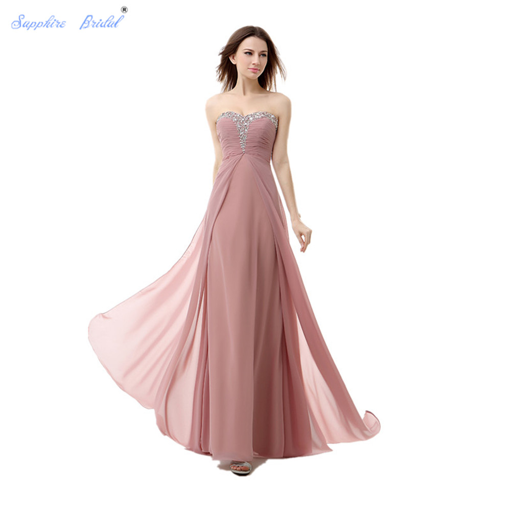 Sapphire Bridal Sweetheart Beaded Long Formal Party Gowns Blush Bridesmaid Dresses Hot Sale