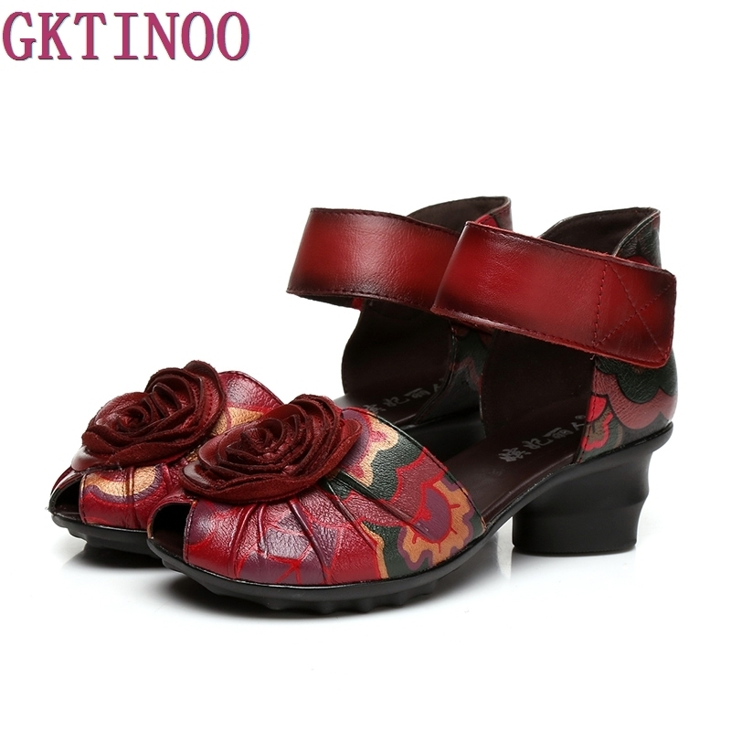 2017 Women Thick Heels Sandals Closed Toe Flower Ethnic Style Handmade Genuine Leather Personalized Women Sandal anckle strip women thick heels sandals closed toe flower ethnic style handmade genuine leather personalized women sandal