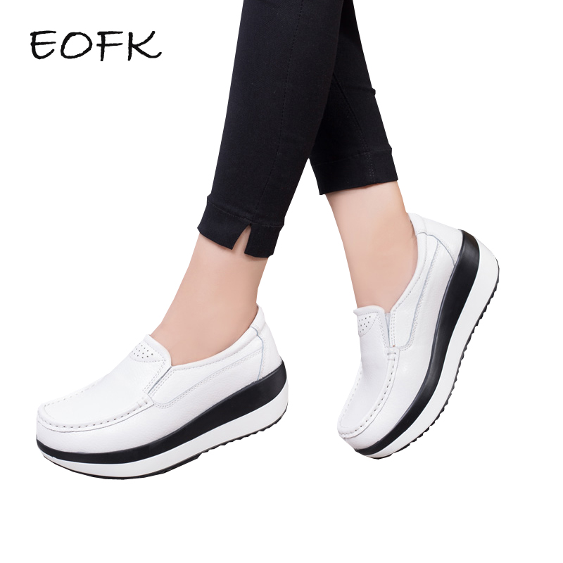 EOFK Women Platform Shoes Woman Leather Shoes Spring Autumn Slip On Women's Flat Shoes Women's Casual Flats Ladies Flat Shoes eofk women ballet flats women s flat shoes casual cow suede leather loafers shoes woman butter fly slip on solid ladies shoes
