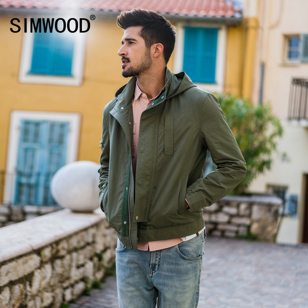 SIMWOOD New 2019 autumn Hooded Jacket Men Pocket Zipper Slim Fit Thin Windbreaker Coats High Quality Brand Clothing 180166