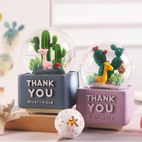 Nordic Style Fresh Cactus with Lights Drifting Snow Crystal Ball Giraffe Music Box Creative Water Polo Music Box Birthday Gifts