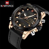 NAVIFORCE Watches Men Luxury Brand Leather Sports Army Military Watches Men S Quartz LED Digital Watch