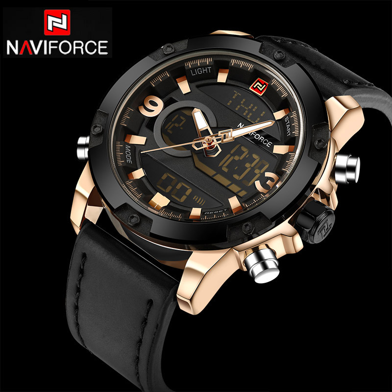 NAVIFORCE Mens Watches Top Luxury Brand Sport Men Watches Quartz Watch Analog Waterproof Sports Leather Army Military WristWatch cocoshine a908 mens luxury army sport wrist watch waterproof analog quartz watches wholesale free shipping