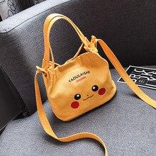 Nuova versione Coreana Harajuku Pokemon Pikachu carino mini borsa di tela del sacchetto di spalla femminile casuale studente tote borsa