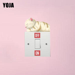 YOJA Switch Sticker Home-Decoration Fashionable Cat PVC Wall 8SS0035 Awake Still