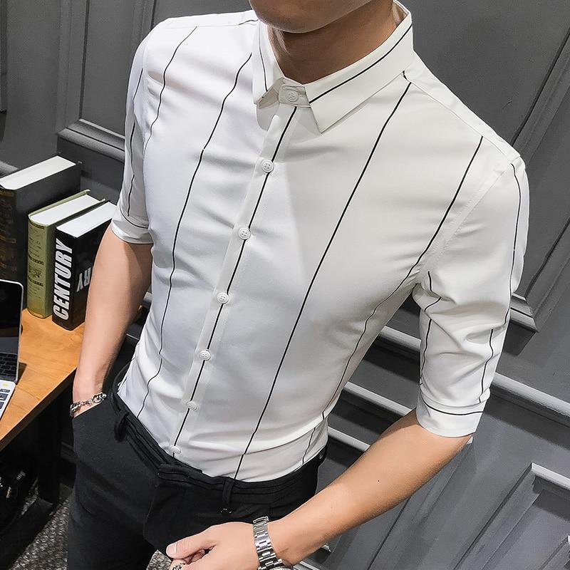 High Quality Shirt Men Brand New Mens Shirts Casual Slim Fit 2019 Summer Streetwear Striped Shirts Half Sleeve Formal Wear 3XL
