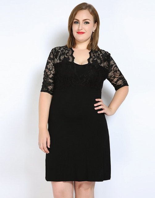 Cute Ann Womens Sexy V Neck Plus Size Tunic Dress Lace Patchwork