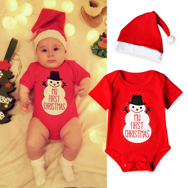 e1786b673 My First Christmas Baby Boys Romper Casual Baby Girls Clothes Newborn Long  Sleeve Jumpsuit+Lovely Hat Clothing Sets