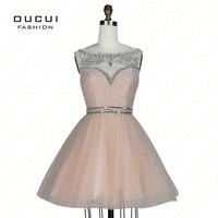 Реальные фотографии персик Цвет Бисер ручной работы короткие платья выпускного вечера с камнями вечерние платья OL102830B