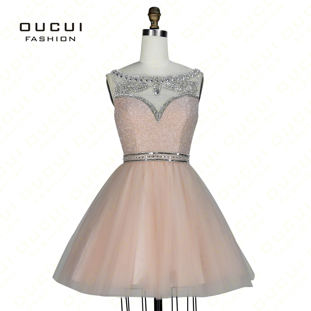 Real Photos Peach Color Beading Handwork Short Prom Dresses With ...