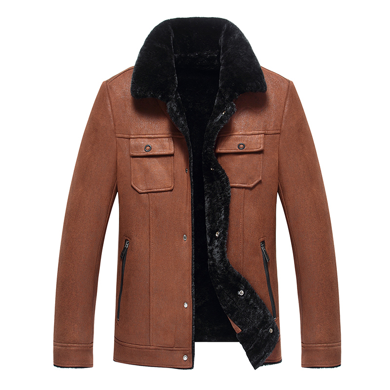 2019 High Quality Leather Jacket Men Faux Leather Coat Mens Leather Jacket Motorcycle Jacket Men Winter Leather Coat Fur Liner