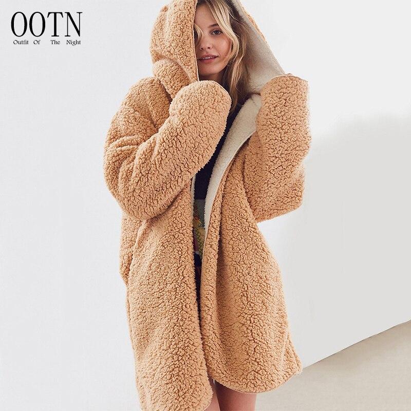 OOTN Fur Hoodie Long Faux Fur Coat Women Plush Jacket Shaggy Cardigan Autumn Winter Warm Coat Women Teddy Coat 2018 Overcoat