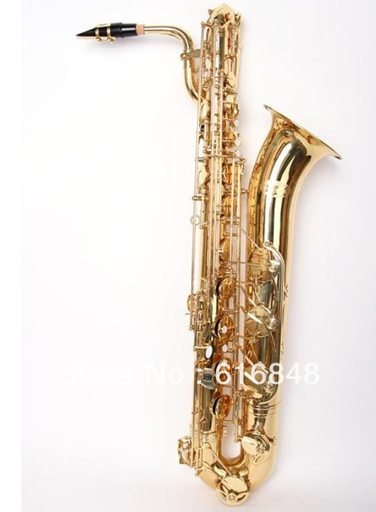 High Level Professional Baritone Saxophone Surface Gold Plated Baritone Sax Brand Instruments With Mouthpiece And Case soprano saxophone bb curved sax high f with case the blue silver keycopper simulati copper simulation soprano saxophone
