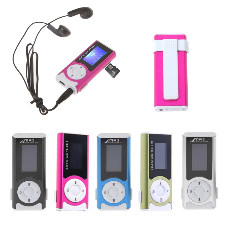 OOTDTY MP3 Mini USB Aluminum LCD Screen 32GB Micro SD TF Card Clip Design Digital Music MP3 Player