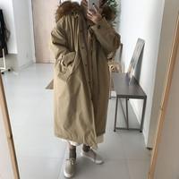 2019 Women Winter Coats Faux Fur Women Jackets Real Large Fur Collar Thick Ladies Down & Parkas Coat Long Winter Coat Women