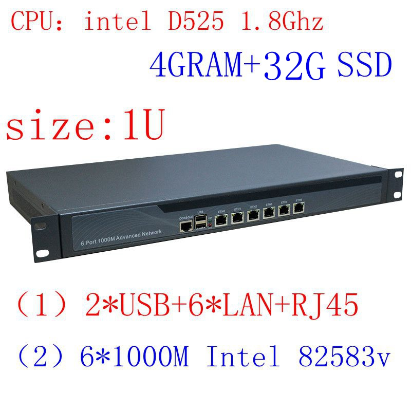 1u Firewall Rack Ears Firewall Hardware With D525 Processor 6 Ethenet Ports 4GB Ram 32GB SSD Support ROS Mikrotik PFSense