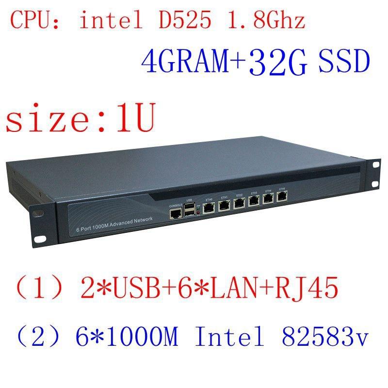 1u Firewall Rack Ears Firewall Hardware With D525 Processor 6 Ethenet Ports 4GB Ram 32GB SSD Support ROS Mikrotik PFSense