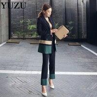 Blazer Jacke 2 Stück Set Lange Hosen Anzüge Büro Uniform Designs Frauen Herbst Patchwork Zweireiher Weibliche Anzug