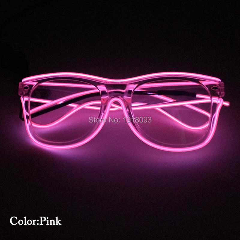 1 Pieces EL Wire Glowing Glasses Novelty Lighting Decoration LED Neon Lights New Style 10Colors With DC-3V Steady On Inverter