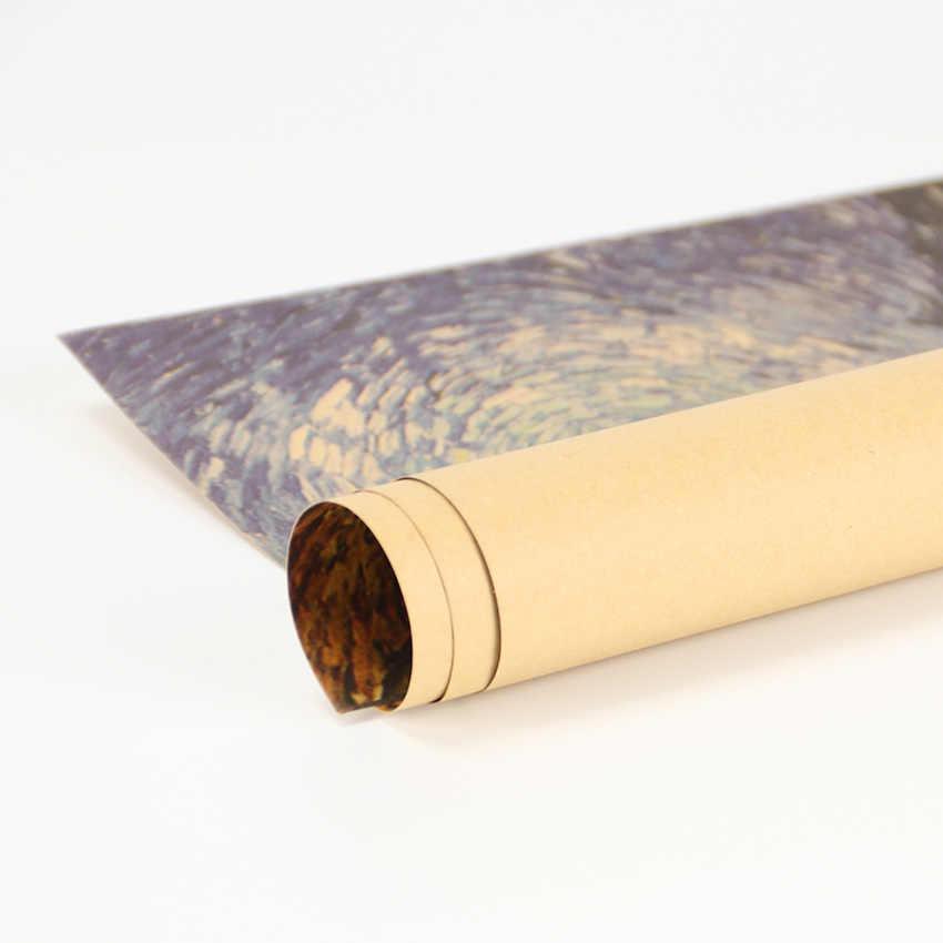 TIE LER Famoso dipinto di Van Gogh Olio Strada Con Cipressi Retro Arte Antica Carta Kraft Pittura Complementi Arredo Casa Autoadesivo Della Parete di Bar Cafe poster