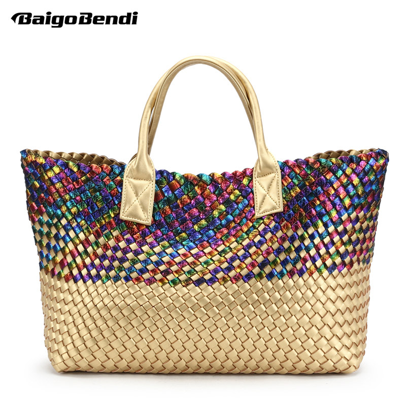 цены на Ladies Shinning Colourful Rainbow Woven Leather Handbag High-capacity Hobo Women's Knitting Serpentine Bag Large Casual Tote в интернет-магазинах